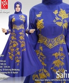 Supplier Busana Muslim Wanita Safira Warna Ungu Bahan Woolpeach