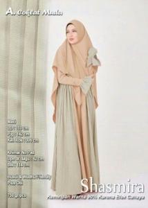 Supplier Gamis Muslimah Terbaru Shasmira Syar'i Warna Coklat Muda Bahan Balotelifes