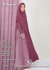 Supplier Gamis Muslimah Terbaru Shasmira Syar'i Warna Magenta Bahan Balotelifes
