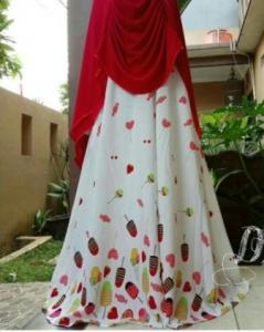 Baju Gamis Murah Dan Cantik Lollipop Syar'i Warna Merah Bahan Monalisa