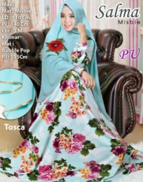 Baju Gamis Murah Dan Cantik Salma Syar'i Warna Turkish Bahan Misbie