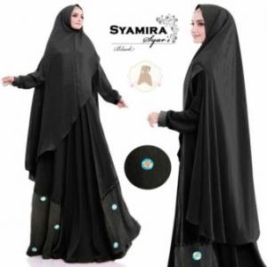 Baju Gamis Syamira Syar'i Jumbo Warna Hitam Bahan Jacquard untuk orang Gemuk