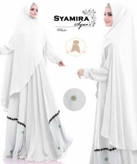 Baju Gamis Syamira Syar'i Jumbo Warna Putih Bahan Jacquard Untuk Orang Gemuk