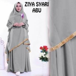 Baju Gamis Ziya Syar'i Murah Dan Cantik Warna Abu Bahan Misby