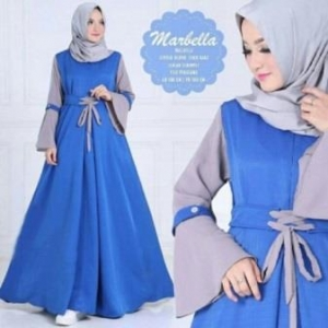 Baju Muslim Online Shop Marbella Syar'i Warna Elblue Bahan Balotelli