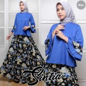 Baju Muslim Setelan Rok Panjang Sintia Set Bahan Balotelli warna Biru