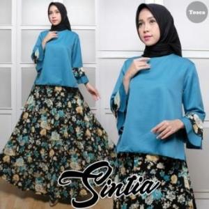 Baju Muslim Setelan Rok Panjang Sintia Set Bahan Balotelli warna Tosca