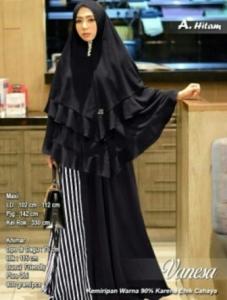 Baju Muslim Vanesa Syar'i Bahan Spandex Warna Hitam