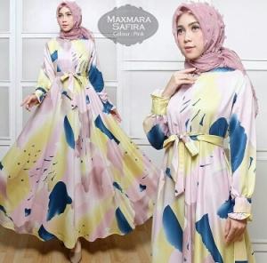 Busana Muslim Wanita Terlaris Safira Dress Pink Bahan Maxmara