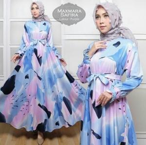 Busana Muslim Wanita Terlaris Safira Dress Purple Bahan Maxmara