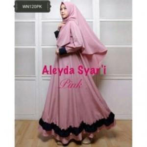Gaun Pesta Muslimah Cantik Unik Aleyda Syar'i Warna Peach Bahan Balotelli