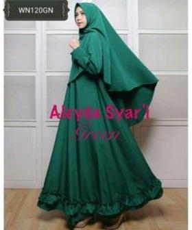 Gaun Pesta Muslimah Cantik Unik Aleyda Syar'i Warna Tosca Bahan Balotelli