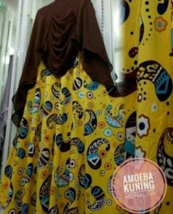 Grosir Baju Gamis Tanah Abang Terbaru Amoeba Syar'i Bahan Monalisa