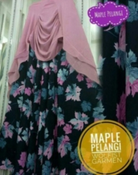 Jual Grosir Baju Gamis Modern Tanah Abang Maple Pelangi Syar'i Bahan Monalisa
