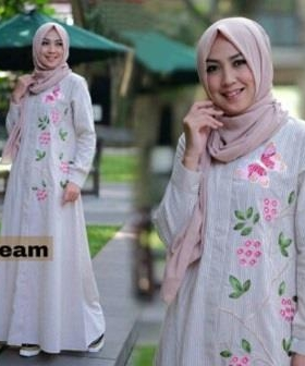 Online Shop Baju Hijabers Remaja Zahra Maxi Warna Cream Bahan Katun Yanded