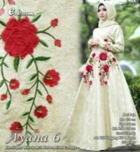 Supplier Baju Gamis Mewah Cantik Ayana 6 Maxi Warna Cream Bahan Jacquard