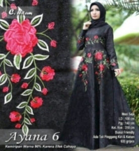 Supplier Baju Gamis Mewah Cantik Ayana 6 Maxi Warna Hitam Bahan Jacquard