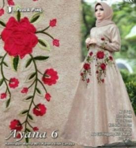 Supplier Baju Gamis Mewah Cantik Ayana 6 Maxi Warna Peach Pink Bahan Jacquard