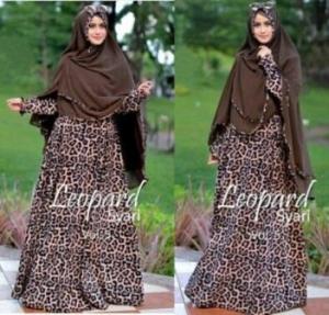 Supplier Busana Muslim Terbaru Leopard Syar'i Bahan Monalisa