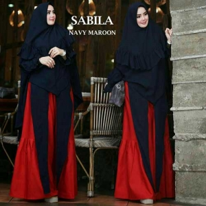 Gaun Pesta Muslimah Elegan Sabila Syar'i Warna Navy Maroon