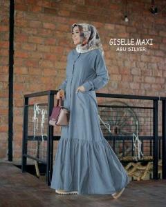 Online Shop Baju Hijabers Modernn Cantik Giselle Maxi Warna Abu