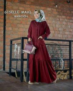 Online Shop Baju Hijabers Modernn Cantik Giselle Maxi Warna Maroon