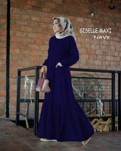 Online Shop Baju Hijabers Modernn Cantik Giselle Maxi Warna Navy