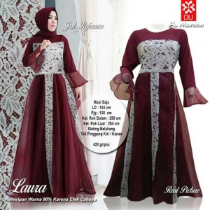 Supplier Baju Pesta Muslim Cantik Laura Maxi Warna Maroon