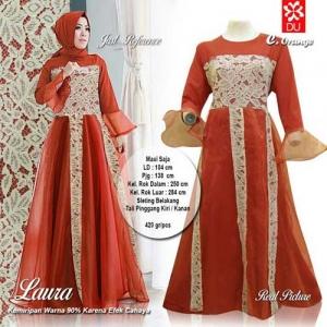 Supplier Baju Pesta Muslim Cantik Laura Maxi Warna Orange