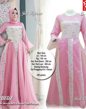 Supplier Baju Pesta Muslim Cantik Laura Maxi Warna Pink