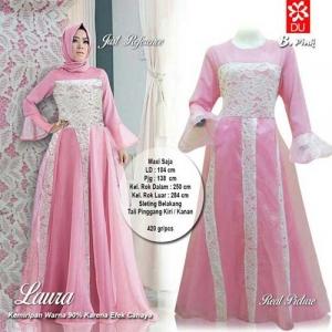 Supplier Baju Pesta Muslim Cantik Laura Maxi Warna Pink