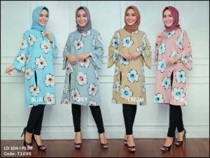 Distributor Busana Muslim Trendy Bunga Set Bahan Rami dan Jersey