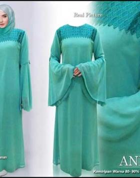 Gamis Polos Elegan Aninna Dress Bahan Ceruti