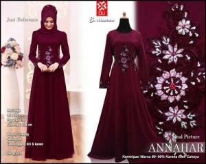 Jual Gamis Modern Pesta Annahar Dress Bahan Ceruti