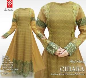 Jual Online Baju Gamis Pesta Modis Chiara Maxi Warna Gold Motif Batik
