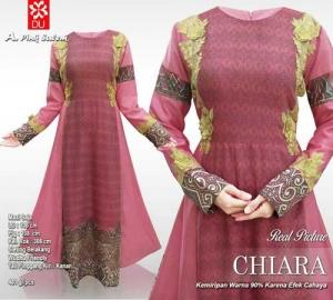 Jual Online Baju Gamis Pesta Modis Chiara Maxi Warna Pink Salem Motif Batik