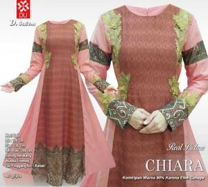 Jual Online Baju Gamis Pesta Modis Chiara Maxi Warna Salem Motif Batik