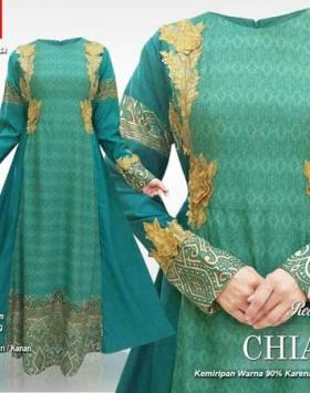 Jual Online Baju Gamis Pesta Modis Chiara Maxi Warna Tosca Motif Batik
