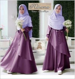 Jual Online Baju Muslim Wanita Ukuran Besar Rihana Syar'i Warna Dark purple