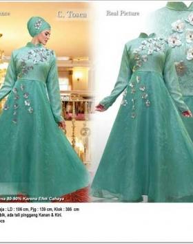 Jual Online Busana Muslim Pesta Alara Dress Bahan Jacquard