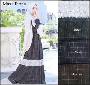 Online Shop Baju Hijabers Modern Murah Tartan Maxi Bahan Linen