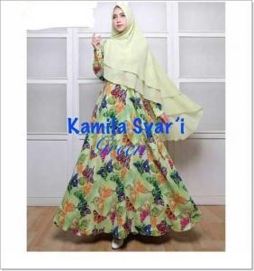 Baju Gamis Cantik Dan Murah Kamila-Syar'i Bahan Woolpeach