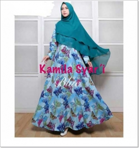 Baju Gamis Cantik Dan Murah Kamila Syar'i Bahan Woolpeach