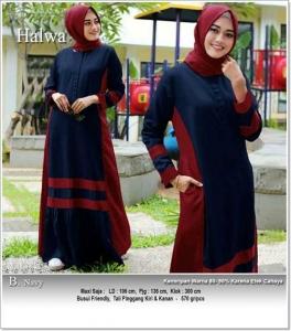 Jual Baju Gamis Katun Modern Halwa Maxi Bahan Linen Rami