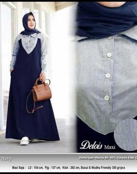 Online Shop Baju Hijabers Modern Delois Maxi Bahan Katun Ima