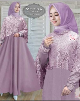 Agen Busana Muslim Pesta Medira Dress Bahan Maxmara Lotus