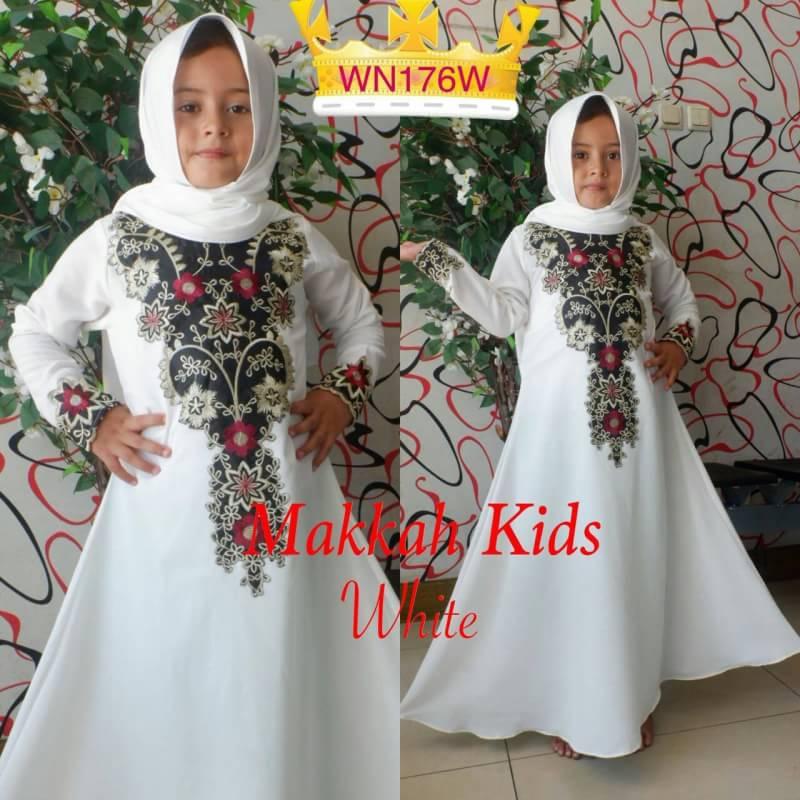 Baju Gamis Anak Perempuan Abaya Makkah Kids Bahan Crepe Warna White