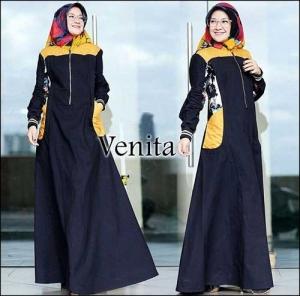 Baju Gamis Katun Muslimah Terbaru Venita Maxi Bahan Katun Ima