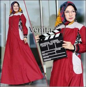 Baju Gamis Katun Muslimah Terbaru Venita Maxi Bahan Katun Ima Platinum
