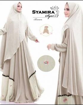 Baju Muslim Cantik Ukuran Besar Syamira Syar'i Bahan Maxmara